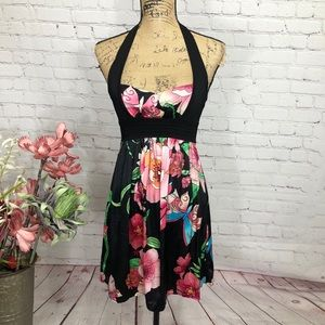 Bebe Sexy Floral Fit and Flare Silk Floral Dress